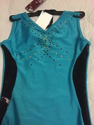 BNWT gymnastics turquoise & black sequin leotard age 12yrs