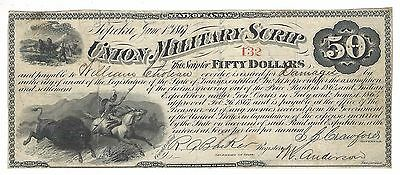 1867 $50 Union Military Scrip***topeka, Kansas***for Service In Civil War  - Boe