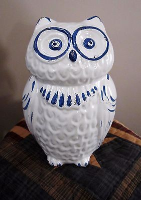 "Shabby Country Chic ~ Blue & White Owl Figurine ~ 8-1/2"" Tall ~ New ~ Adorable"