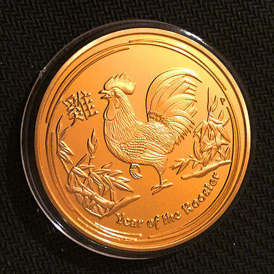 2017 Zodiac Lunar Year of the Rooster - Commemorative 1oz 24k Gold Plated Coin