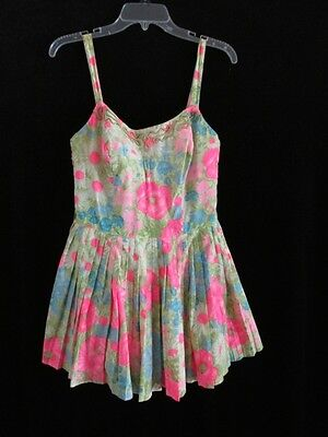 Vtg 1950s 1960s GABAR Usa Made Watercolor Floral Pleated Skirt Swim Play Suit 16