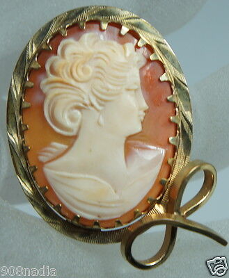 Vintage 14K Gold Filled Victorian Brooch/pendant Bow Frame Carved Cameo Shell