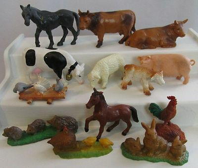 1982 BULLY W Germany PVC Lot 13 Farm Animals Cows Chickens Pig Horses Lambs Wild