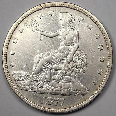 1877 Trade Silver Dollar T$1 - AU Details - Rare Early Type Coin!