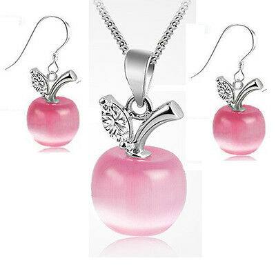New products Fashion jewelry 925 silver suit apple Opal necklace and earring