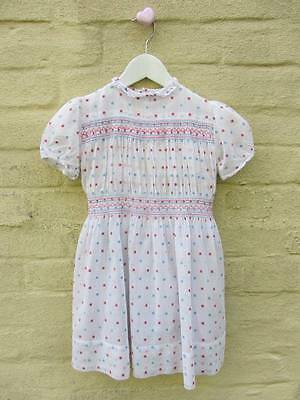 vintage girls traditional dress vintage wedding bridesmaid 50's smocking age 4