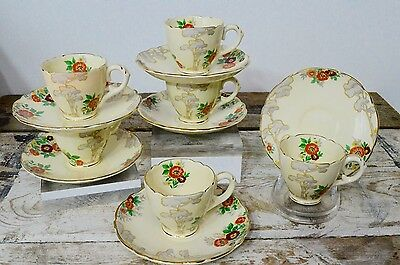6 Vintage Art Deco Royal Cauldon Grey Trees Coffee Cups Saucers Set