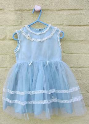 vintage baby fairy dress blue net 50's age 1 display doll princess