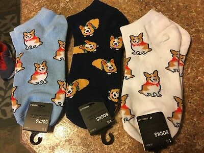New!! Womens Ankle Socks Blue Pembroke Welsh Corgi LOT Of 3 PAIRS!!!! Forever 21