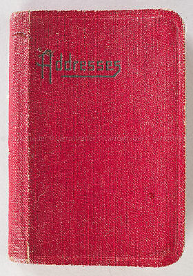 Small Red Address Book Vintage Used Leather Cover Stitched Alphabet Tabs PA MD V