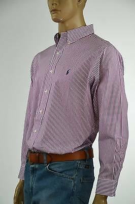 Ralph Lauren Classic Fit Burgundy & White Striped Long Sleeve Shirt/ Pony- NWT