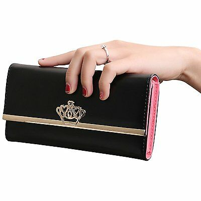 Jastore® Lady Women Crown Clutch Leather Long Wallet Card Holder Purse Black