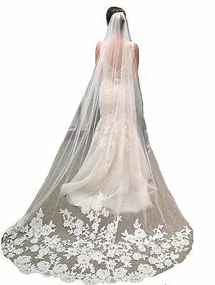 YSFS Womens Appliques Tulle Bridal Wedding Veil With Comb White Long