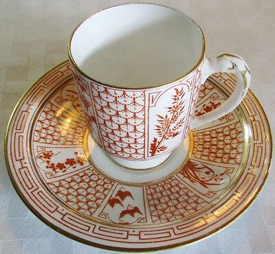 Antique 1800's English Demitasse Cup Saucer W/ Aesthetic Motif Ex-Condition