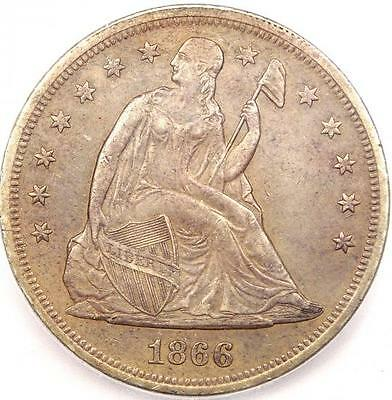 1866 Motto Seated Liberty Silver Dollar $1 - ICG AU55 - Rare Early Coin!