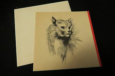 Vintage PERSIAN Cat Note Card c. 1940s UNSIGNED w/envelope