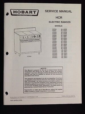 HOBART SERVICE AND Instruction Manuals For Electric Ranges HCR Models