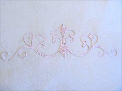 CHALK PINK METAL SCROLL PEDIMENT, DISTRESSED, Shabby Chic, Cottage Chic, French