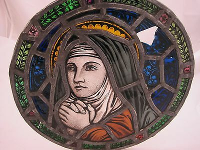 Beautiful ANTIQUE STAINED GLASS CHURCH GOTHIC RELIGIOUS MARY WINDOW, Salvage