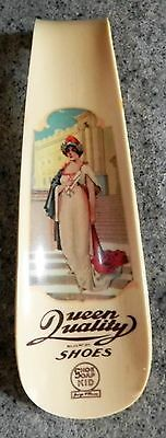 """ANTIQUE ADVERISING SHOE HORN """"QUEEN QUALITY SHOES"""" CELLULOID w/ LITHO, SCARCE"""