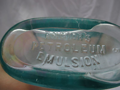 Unusual Aqua Bottle Angier's Petroleum Emulsion Not Petrol Oil Can Poison
