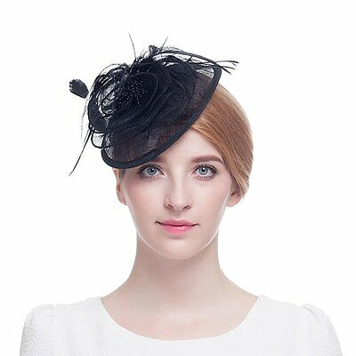 Valdler Womens Feather Mesh Net Sinamay Fascinator Hat with Clip Tea Party Derby
