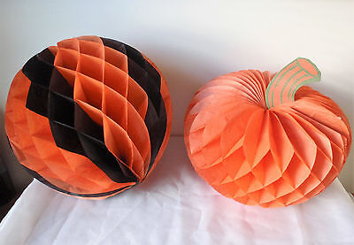 Vintage Halloween Decorations Accordion Style Pumpkins Lot Of 2