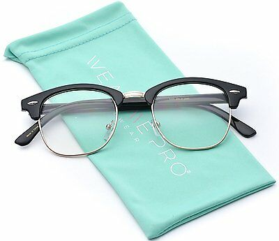 Vintage Inspired Classic Half Frame Horn Rimmed Clear Lens Glasses Optical