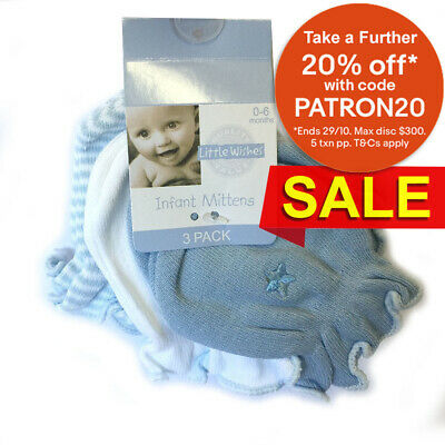 3Pack Blue Baby Mitten Glove For Newborn/Infant 0-6M - Cotton/Nylon/Hand-Guard