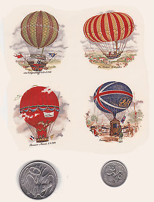 #14. 4 x Waterslide ceramic decals Decoupage Vintage hot air balloons.  1 3/4""