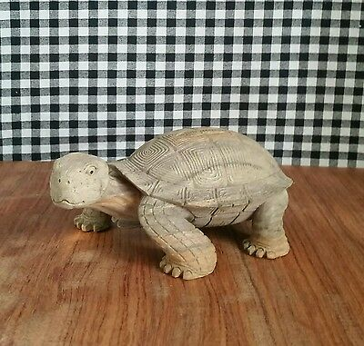 Small Land Box Turtle Tortoise Statue, Handmade Carving Reptile Figurine, Detail