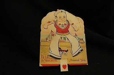 Vintage Sailor And Pekingese Dog Valentine Card 1920S Unsigned Germany