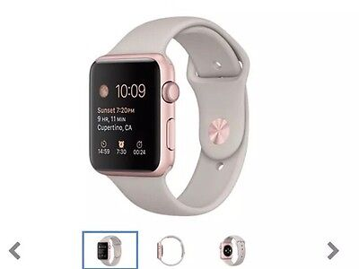 Apple Watch Sport 42mm Rose Gold Stone/white Band Brand New
