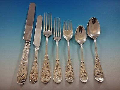 Japanese by Tiffany Co Sterling Silver Flatware Set Service 66 Pcs Audubon Birds