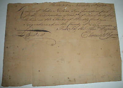 1744 SURVEY OF LAND MUDDY CREEK PENNSYLVANIA SIGNED BY EDMUND PHYSICK vafo