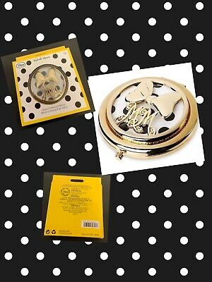 New Disney Store Minnie Mouse Signature Yellow Polka Dot Glass Compact Mirror