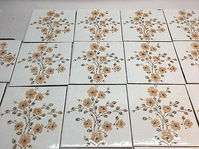 34 Vintage Tile Trivet 6 X 6 H & R Johnson England Floral Reclaimed Estate Find
