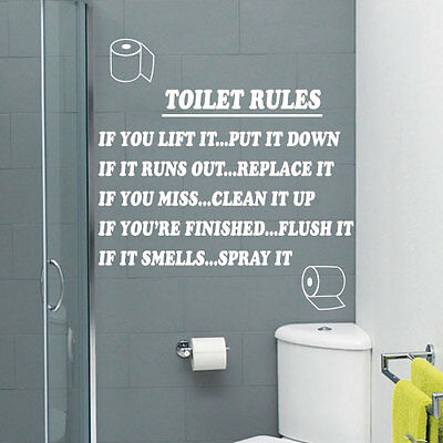 Toilet Rules Bathroom Art Wall Quote Stickers Wall Decals Bathroom Decoration 13