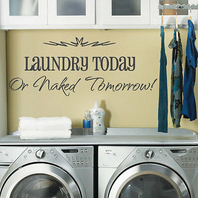 Laundry Washing Room Art Wall Quote Stickers, Wall Decals Words Lettering 13