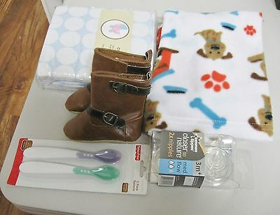 Lot of 5 baby items;  Nipples, fitted crib sheet, spoons, boots, blanket