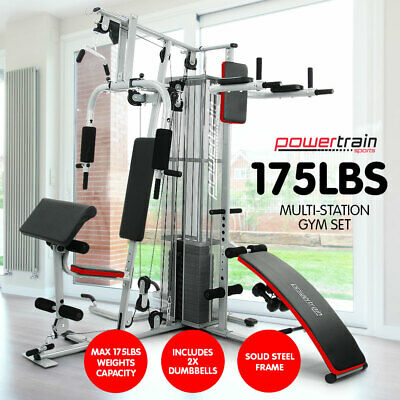 New Multistation Home Gym Exercise Equipment Total Workout Fitness Weights 175lb