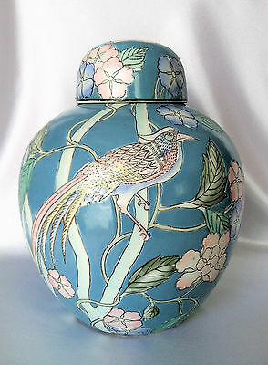 """Vintage Chinese 10.25"""" Blue Ginger Jar with a Beautiful Bird & Floral Motif~WBI"""