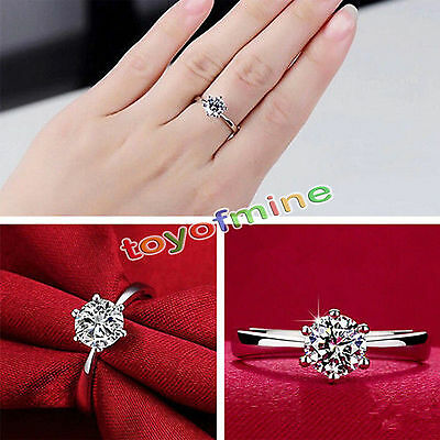 Fashion Women Wedding Jewelry Luxury 925 Sterling Silver Crystal Engagement Ring
