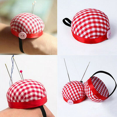 Red Plaid Grids Needle Sewing Pin Cushion Wrist Strap Tool Button Storage  OZ