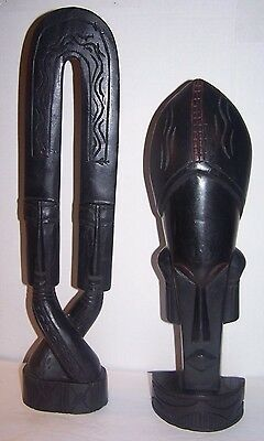 """2 AFRICAN WOOD CARVED BLACK STATUE 20"""" & 17"""" tall BEAUTIFUL!!"""