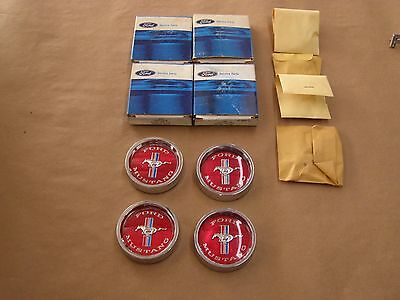 NOS OEM 1965 1966 Ford Mustang Styled Steel Wheel Center Caps Ornaments Emblems