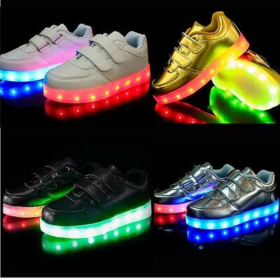 Kids Child Boys Girls LED Light Up Luminous Sneakers USB Charger Trainers Shoes