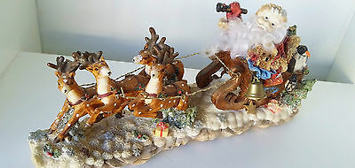 Santa On Sleigh With Reindeers Christmas Decoration Vintage Rare Unique Resin