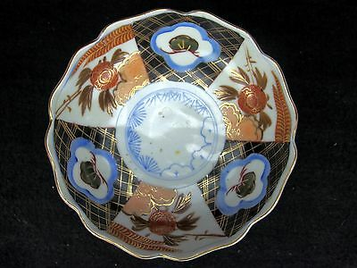 Antique Japanese Imari Porcelain Bowl Late 19th Century Scalloped Edge