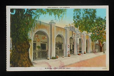 1920s Mission Curio and Art Shop San Gabriel CA Los Angeles Co Postcard